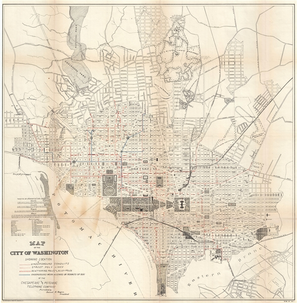 Map of the City of Washington Showing Location of Underground Conduits, Street Pole lines, Scattering Poles and Alley Poles, Underground Work allowed by Permits of 1891 of the Chesapeake and Potomac Telephone Company.