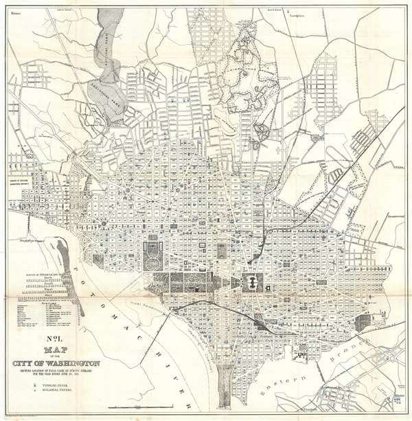 No. I. Map of the City of Washington Showing Location of Fatal Cases of Zymotic Diseases for the Year Ended June 30, 1901.