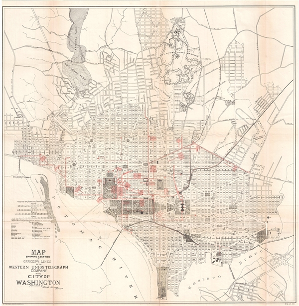 Map Showing Location of Offices and Lines of the Western Union Telegraph Company in the City of Washington. - Main View