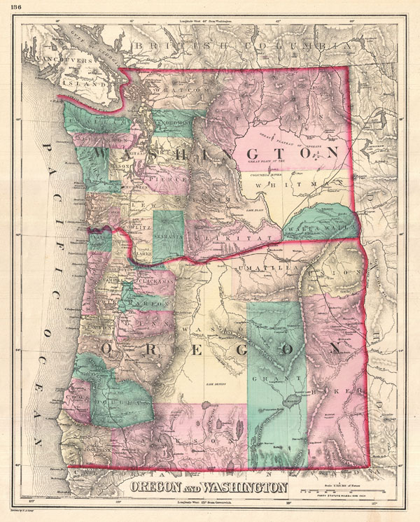 Oregon And Washington Geographicus Rare Antique Maps - Map of oregon and washington