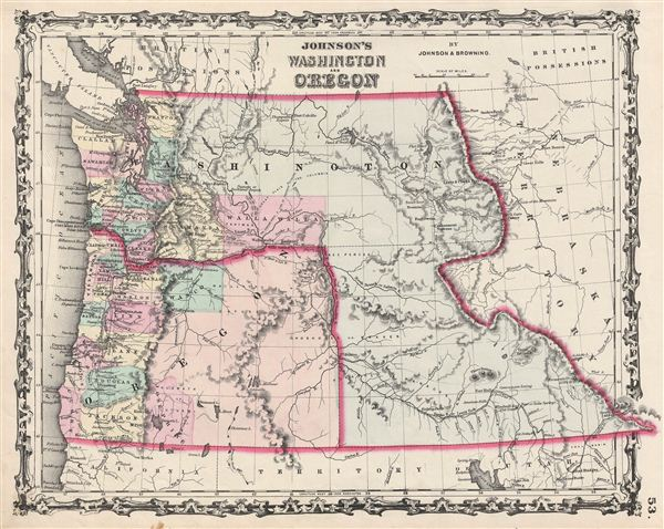 Johnson's Washington and Oregon. - Main View