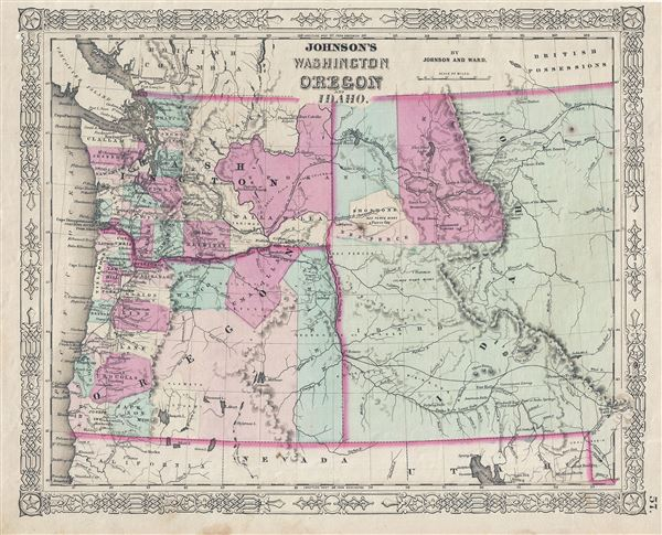 Johnson S Washington Oregon And Idaho Geographicus Rare Antique Maps
