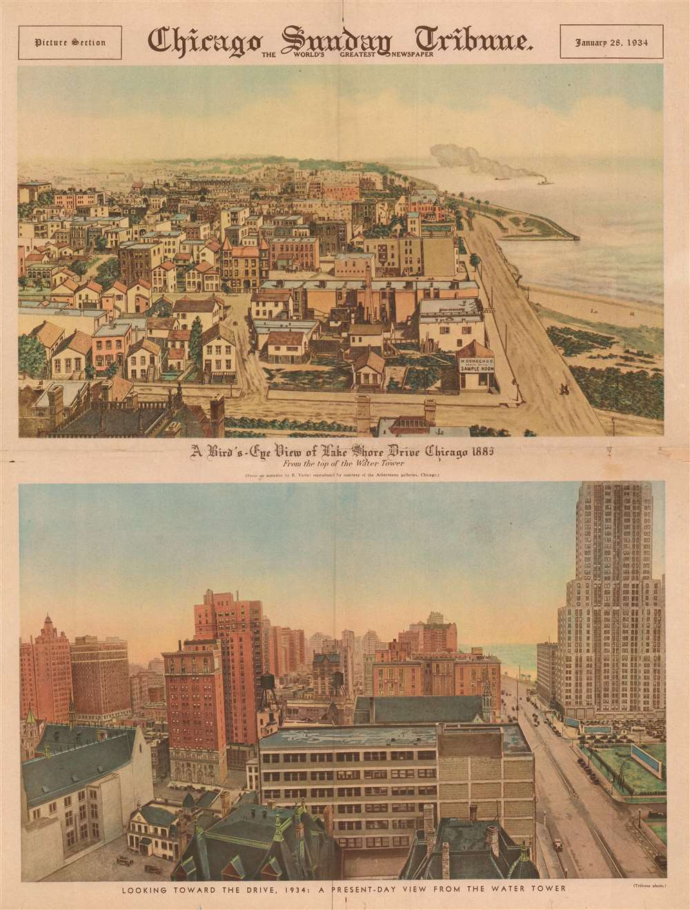 A Bird's-Eye View of Lake Shore Drive Chicago 1883 From the top of the Water Tower. Looking toward the Drive, 1934: A Present-Day View from the Water Tower. - Main View