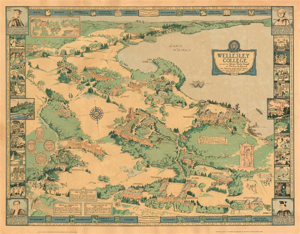 1943 Sturges Pictorial Map of Wellesley College
