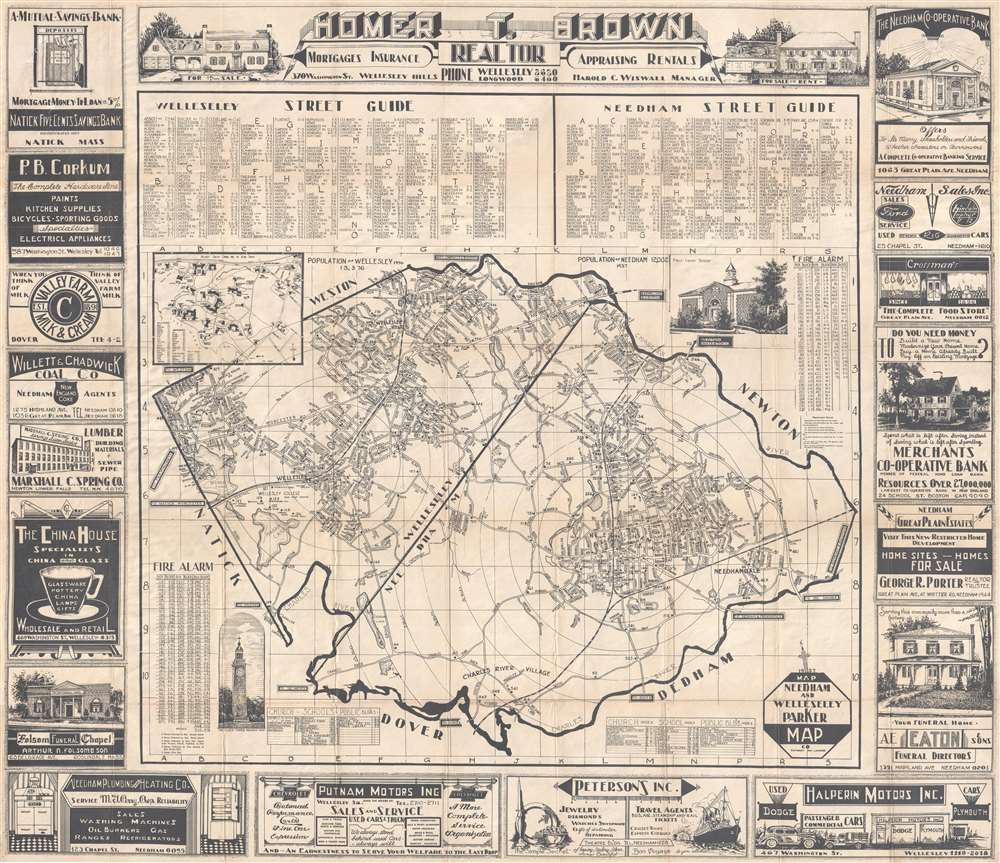 1937 Parker Map Company Map of Wellesley and Needham, Massachusetts