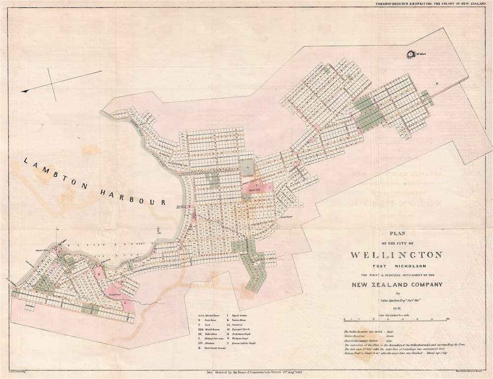 Map Of Wellington New Zealand.Plan Of The City Of Wellington Port Nicholson The First And