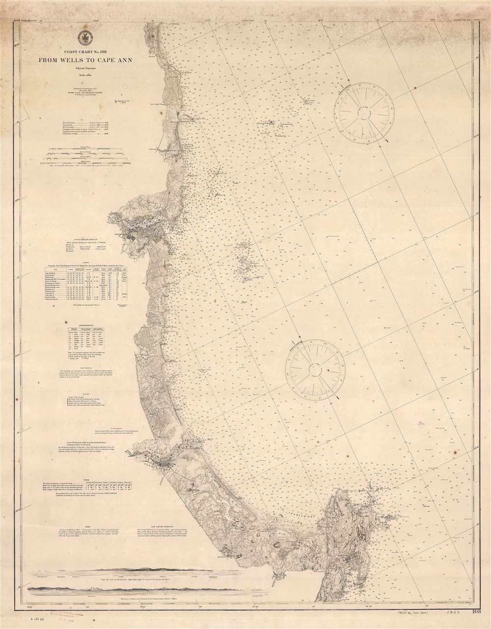 Coast Chart No. 108 From Wells to Cape Ann. - Main View