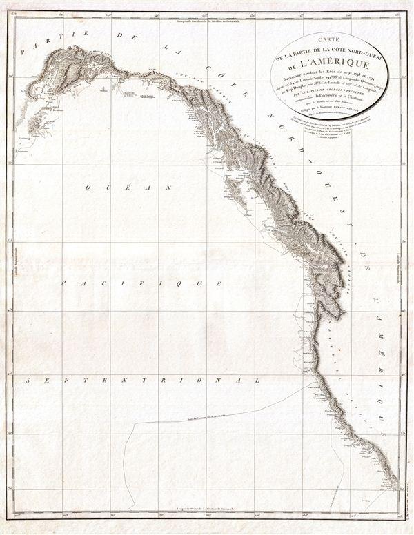 Carte de la Partie de la Cote Nord-Ouest de L'Amerique Reconnue pendant Etes de 1792, 1793, et 1794
