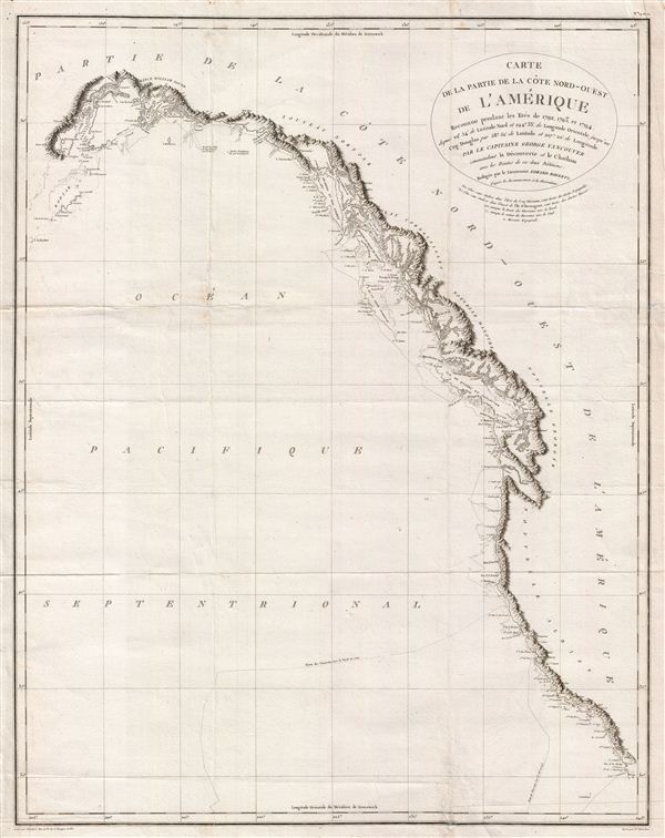Carte de la Partie de la Cote Nord-Ouest de L'Amerique Reconnue pendant Etes de 1792, 1793, et 1794 - Main View