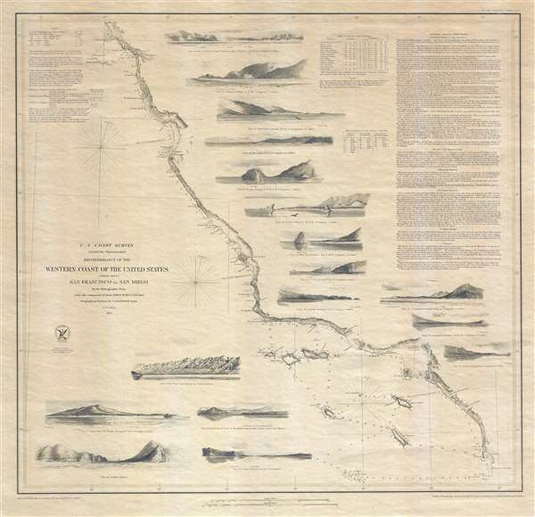 Reconnaissance of the Western Coast of the United States (Lower Sheet) San Francisco to San Diego. - Main View