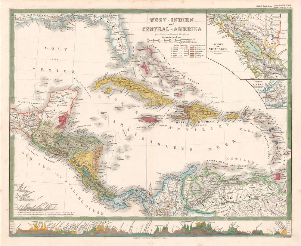 1861 Berghaus Map of the West Indies and Central America