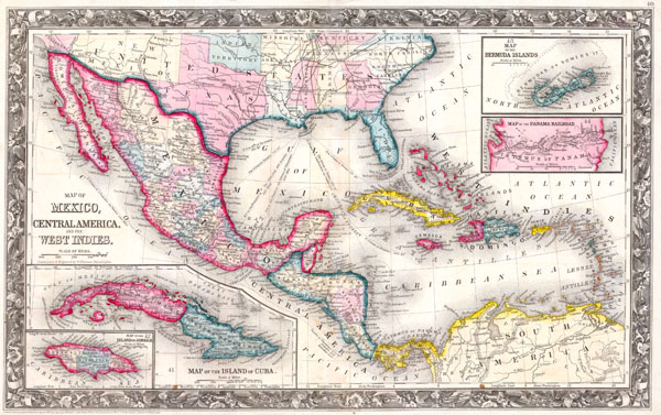 A New Map of Mexico, Central America, and the West Indies. / Map of the Island of Cuba. / Map of the Bermuda Islands. - Main View