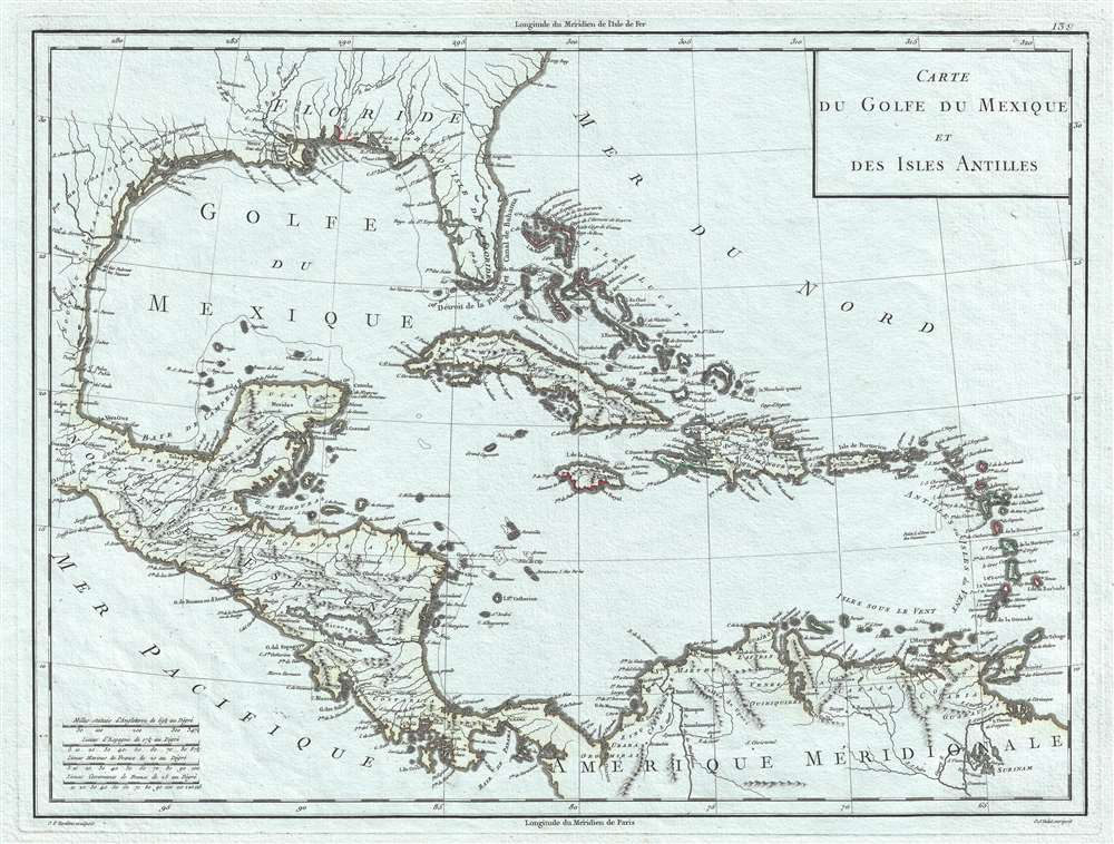 Carte du Golfe du Mexique et des Isles Antilles.