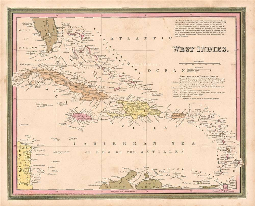 1846 Mitchell Map of the West Indies (First Edition!)