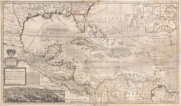 A Map of the West-Indies or the Islands of America in the North Sea; with ye adjacent Countries; explaining what belongs to Spain, England, France, Holland &c. also ye Trade Winds, and ye several Tracts made by ye Galeons and Flota from place to place. According to ye newest and most exact observations, by Herman Moll, Geographer.