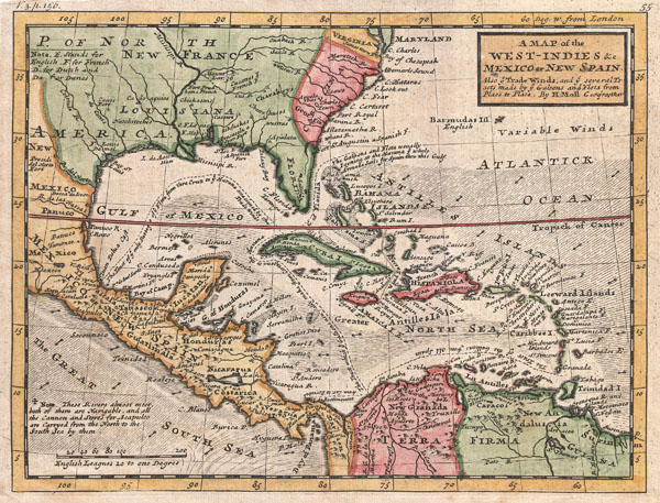 A Map of the West-Indies & c. Mexico or New Spain.  Also ye Trade Winds, and ye Several Tracts made by ye Taleons and Flota from Place to Place.