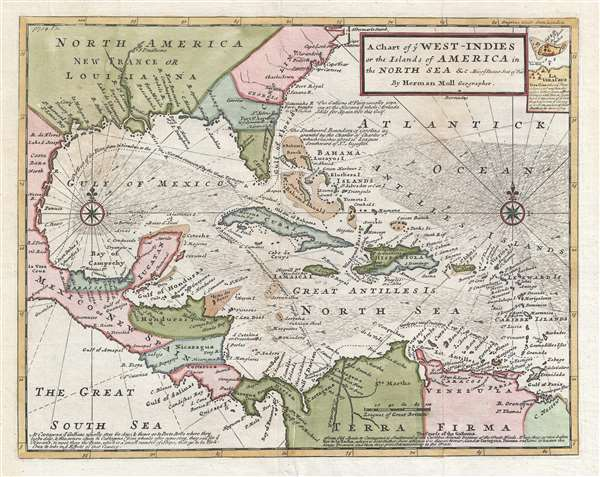 A Chart of ye West-Indies or the Islands of the Americas in the North Sea and c. Being ye Present Seat of War.