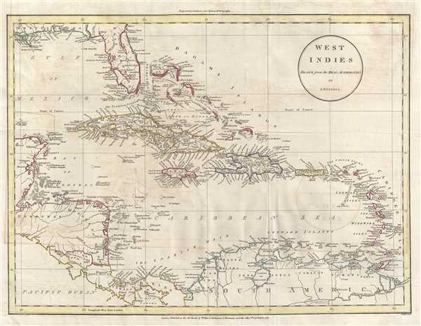 1811 Russell Map of the West Indies