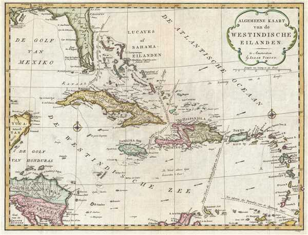 1769 Tirion Map of the West Indies