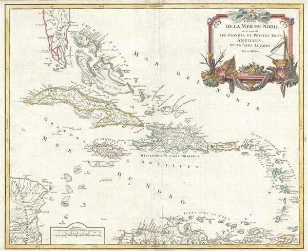 Partie de la mer du Nord, où se trouvent les grandes et petites isles Antilles, et les Isles Lucayes. - Main View