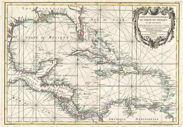Carte geo-hydrographique du Golfe du Mexique et de ses isles. Construit d'apres les memoires les plus recens, et assujeties, pour l'emplacement de ces principales positions aux latitudes et longitudes, determin�es par observation.