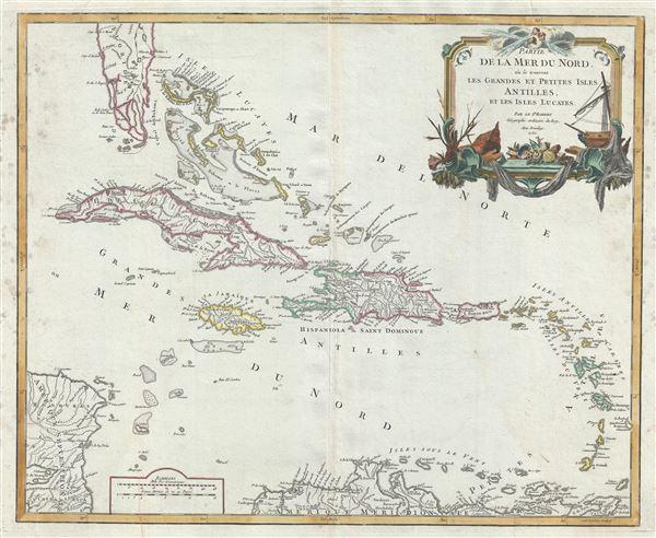 Partie de la Mer du Nord, ou se trouvent les Grandes et Petites Isles Antilles, et les Isles Lucayes.