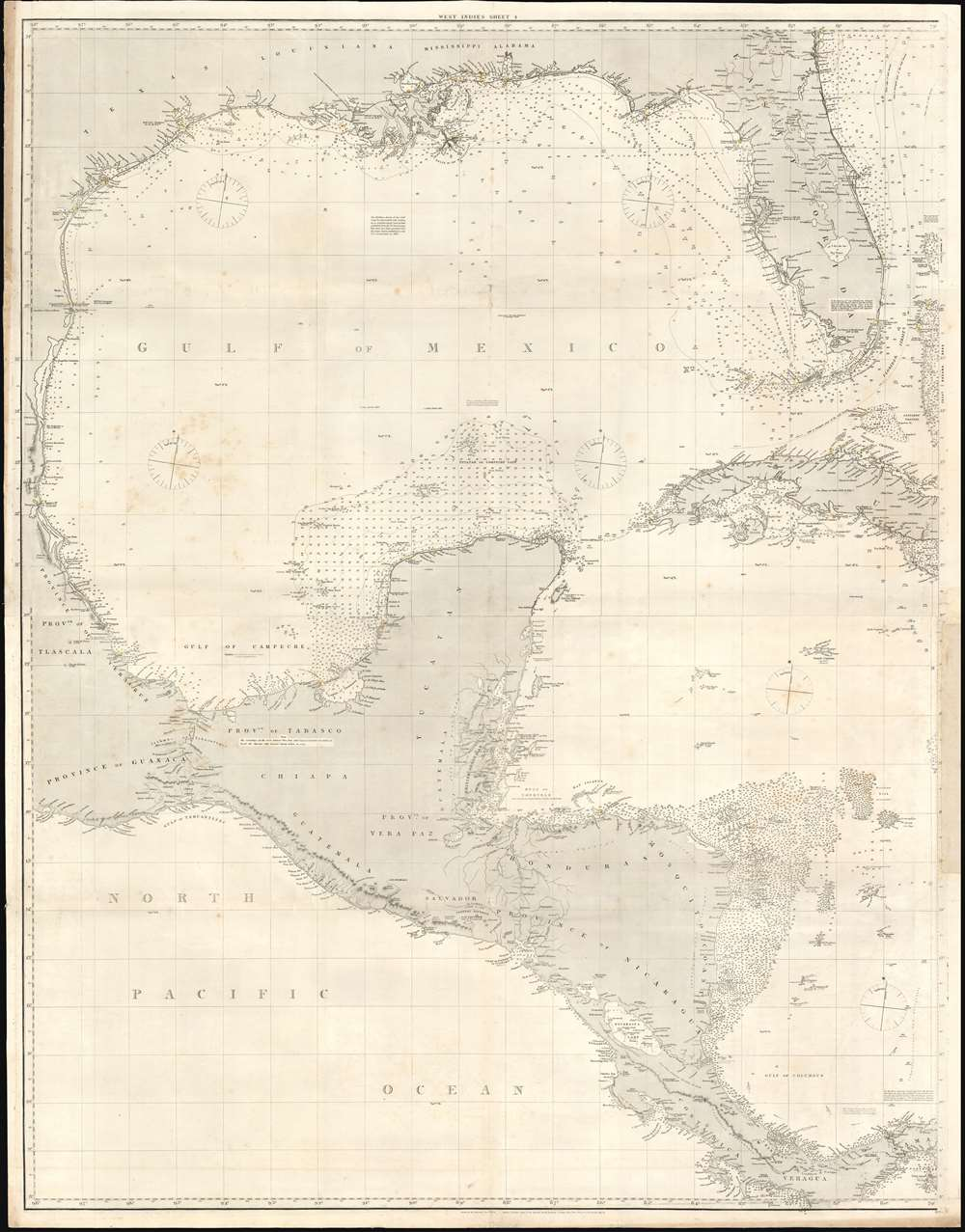 A General Chart of the West Indies and Gulf of Mexico, describing the Gulf and Windward Passages, Coasts of Florida, Louisiana, and Mexico, Bay of Honduras and Musquito Shore; likewise the Coast of the Spanish Main to the Mouths of the Orinoco. - Alternate View 1