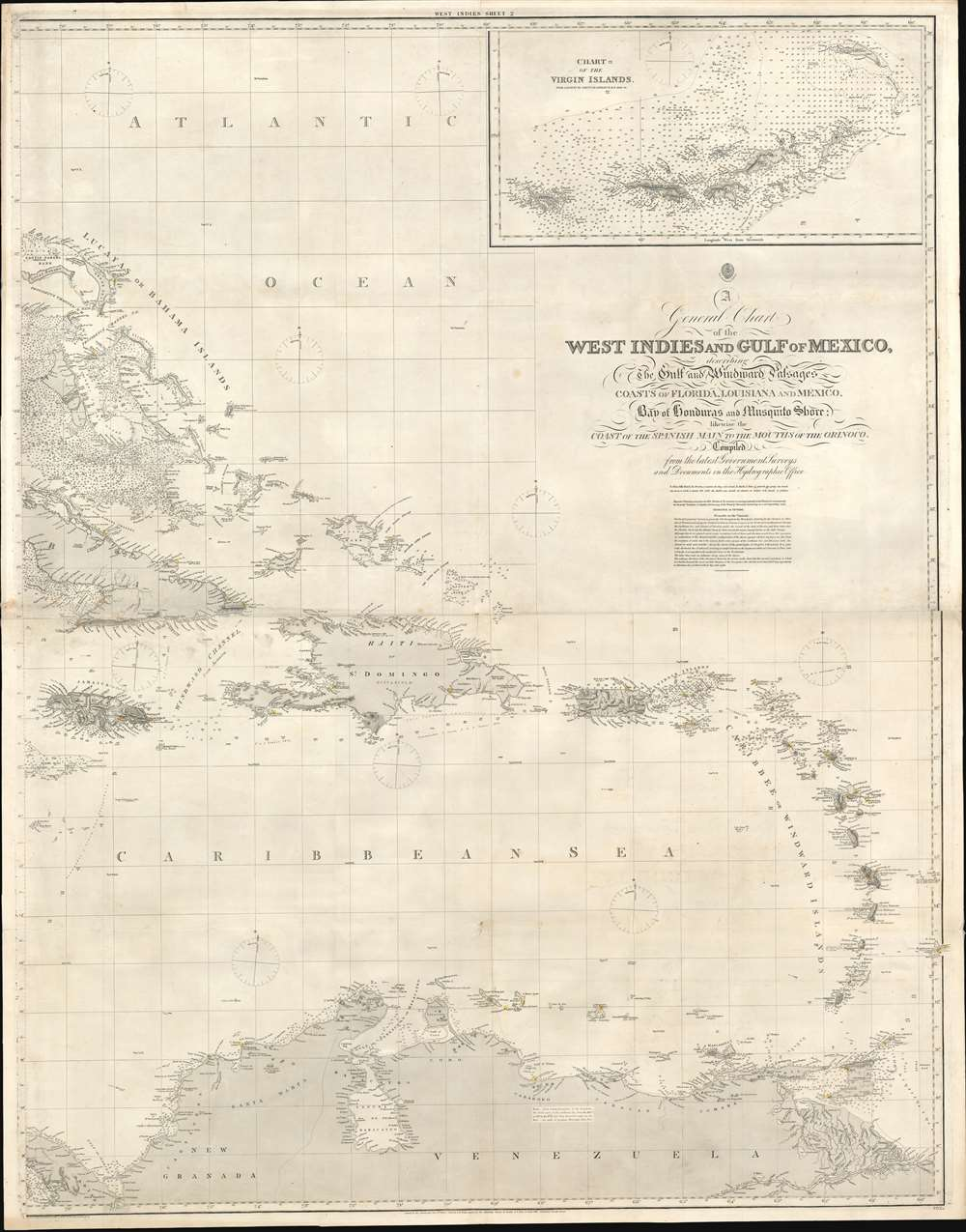 A General Chart of the West Indies and Gulf of Mexico, describing the Gulf and Windward Passages, Coasts of Florida, Louisiana, and Mexico, Bay of Honduras and Musquito Shore; likewise the Coast of the Spanish Main to the Mouths of the Orinoco. - Alternate View 2