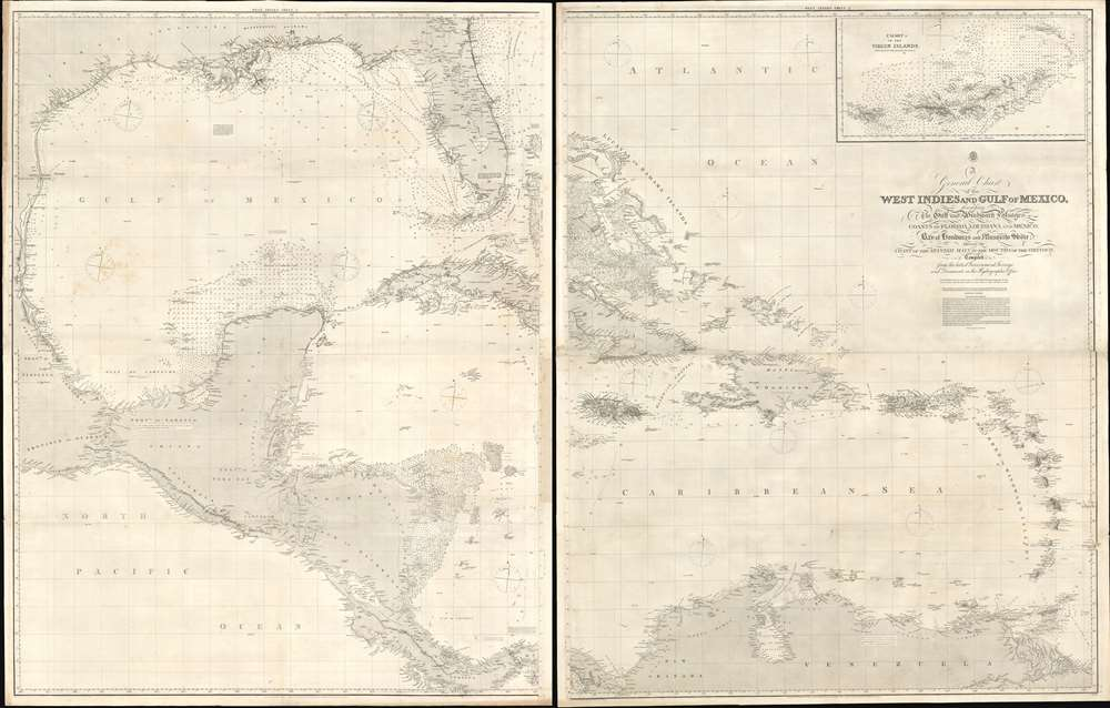 A General Chart of the West Indies and Gulf of Mexico, describing the Gulf and Windward Passages, Coasts of Florida, Louisiana, and Mexico, Bay of Honduras and Musquito Shore; likewise the Coast of the Spanish Main to the Mouths of the Orinoco. - Main View