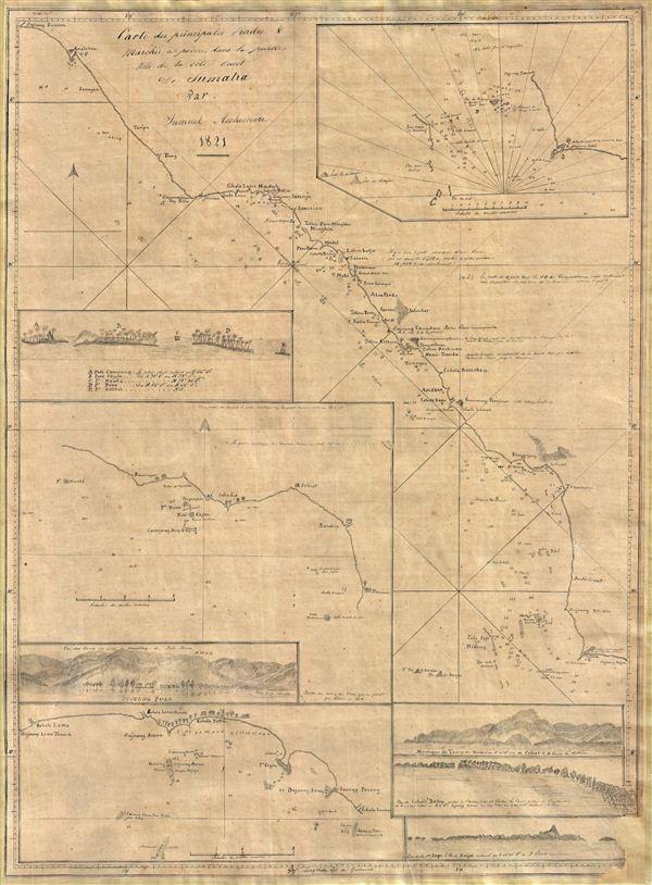 Cartes de principales Rades and Marchés à poivre dans la partie Nord de la Cote Ouest De Sumatra Par Samuel Ashmore.