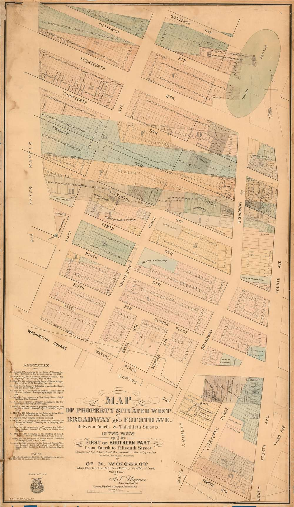 Map of Property Situated West of Broadway and Fourth Ave. Between Fourth and Thitieth Streets in Two Parts. / First or Southern Part From Fourth to Fifteenth Street.