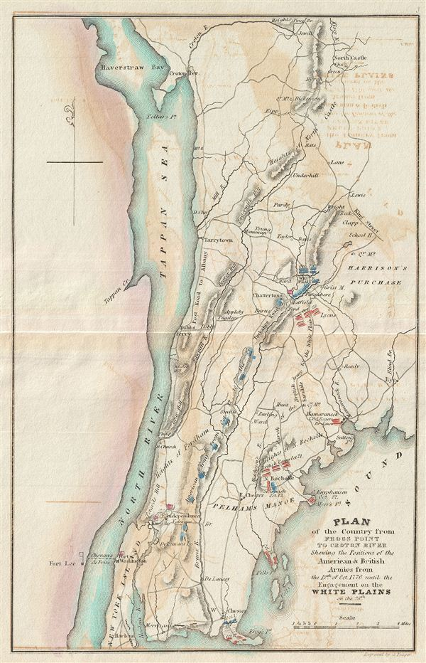 Plan of the Country from Frogs Point to Croton River Shewing the Positions of the American & British Armies from the 12th of Oct. 1776 until the Engagement on the White Plains on the 28th.