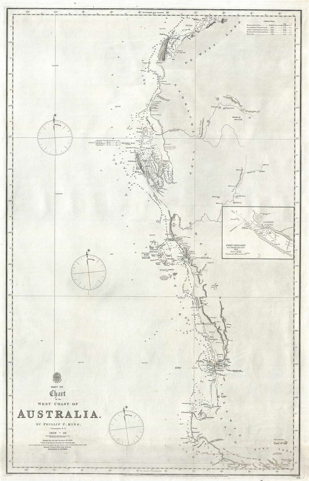 Map Australia Perth.Sheet Viii Chart Of The West Coast Of Australia Geographicus Rare