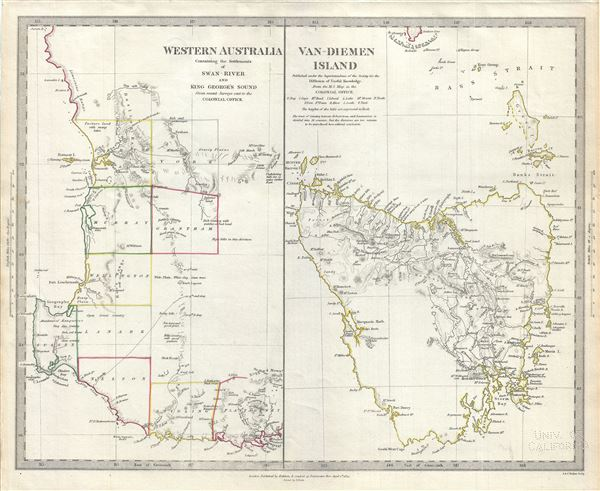 Western Australia Containing the Settlements of Swan-River and King George's Sound.  Van-Diemen Island.