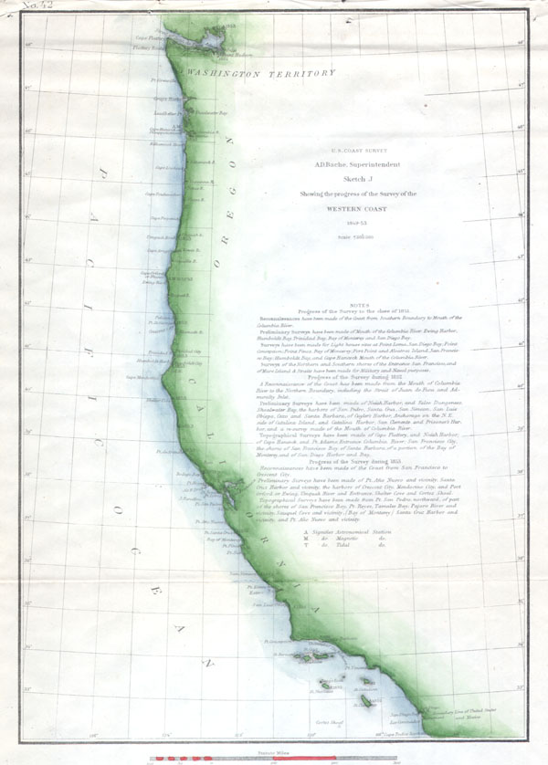 Sketch J Showing the progress of the Survey of the Western Coast 1849-53.
