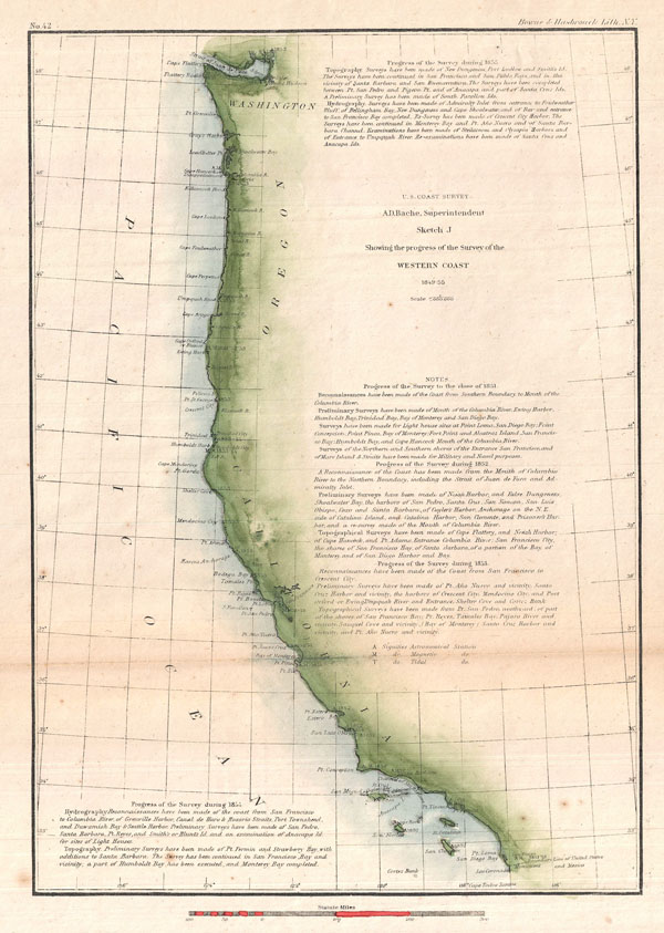 Sketch J Showing the progress of the Survey of the Western Coast 1849-55.