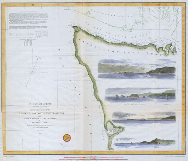 Reconnaissance of the Western Coast of the United States from Gray's Harbor to the Entrance of Admiralty Inlet. - Main View