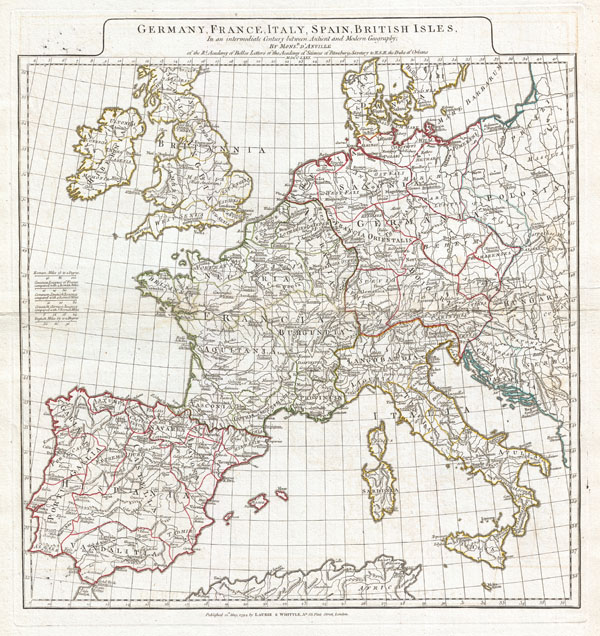 Germany, France, Italy, Spain, British Isles, In an intermediate Century between Ancient and Modern Geography…