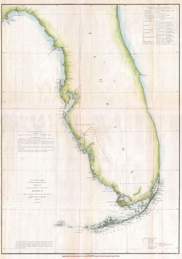 U.S. Coast Survey. A. D. Bache Superintendent. Sketch F Showing  the Progress of the Survey in Section VI. With a General Reconnaissance of the Western Coast of Florida 1848-52.