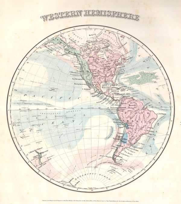 1858 Colton's Map of the Western Hemisphere