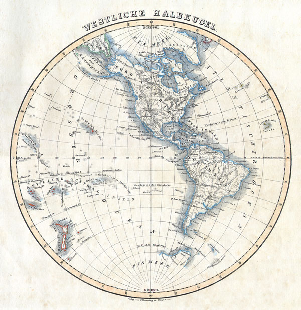1844 Flemming Map of the Western Hemisphere or South and North America