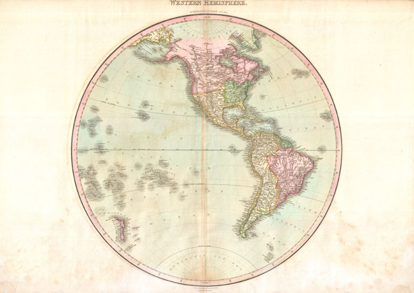 1818 Pinkerton Map of the Western  Hemisphere (North America, South America)