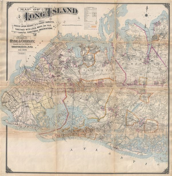 Map of Long Island Based upon Recent U.S. Coast Surveys, Together with Local Maps on File. Supplemented by Careful Territorial Observations. [Brooklyn, Queens, Nassau County]. - Main View