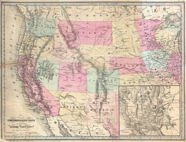 Map of the Territories & Pacific States to Accompany 'Across the Continent' by Samuel Bowles. - Main View