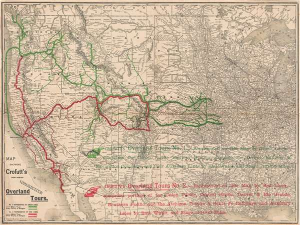 Map showing Crofutt's (new series) descriptive overland tours.