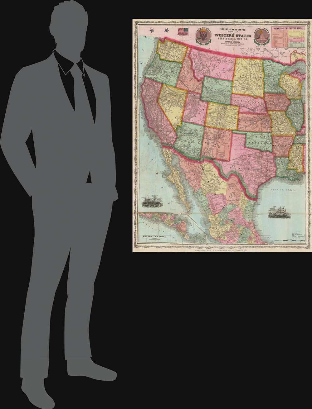 Watson's New Map of the Western States Territories, Mexico and Central America. - Alternate View 1