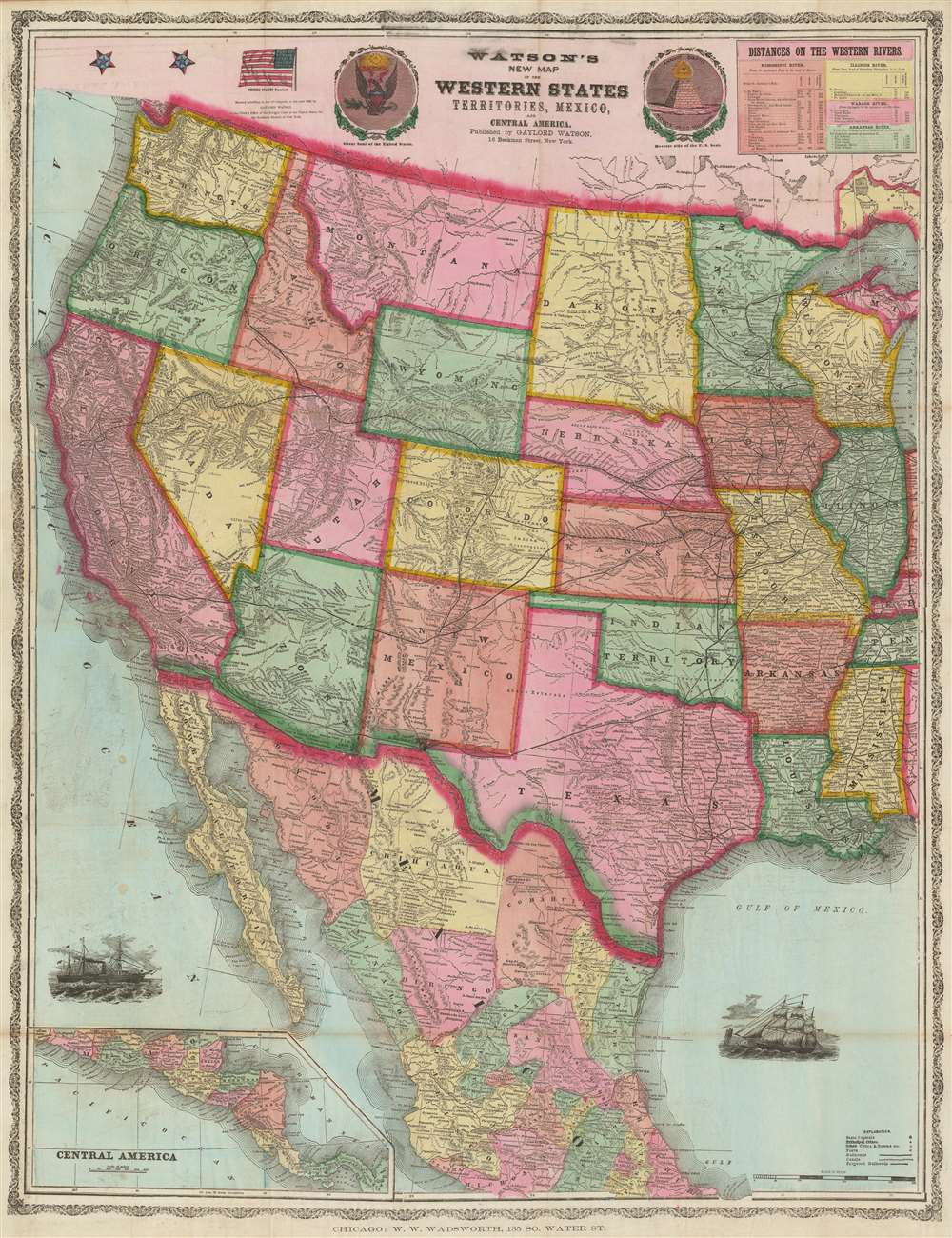 Watson's New Map of the Western States Territories, Mexico and Central America.