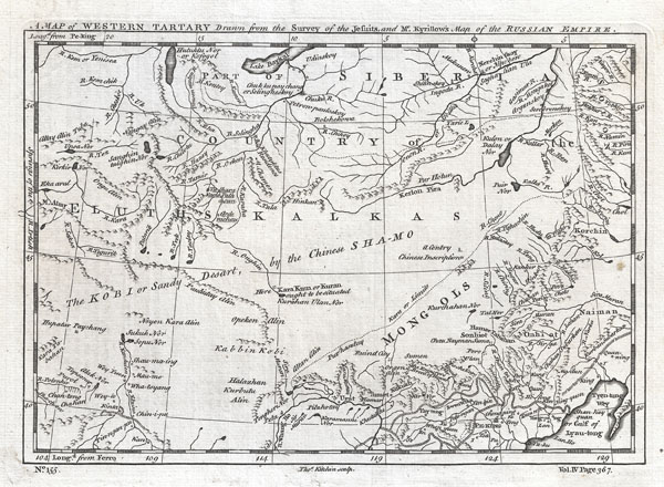 A Map of Western Tartary Drawn from the Survey of the Jesuits and Mr. Kyrillow's Map of the Russian Empire.