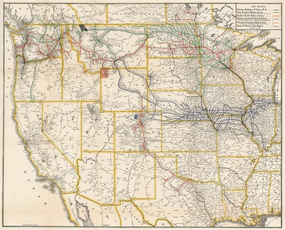 1927 McGill-Warner Railroad Map of the Western United States