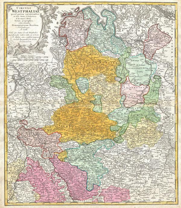 Circuli Westphaliae Quoad partem septentrionalem in sous Status ecclesiasticos & seculares divisi Tabula Geographica edita sumtibus Homannianorum Heredum Norimbergae Ao. 1761.